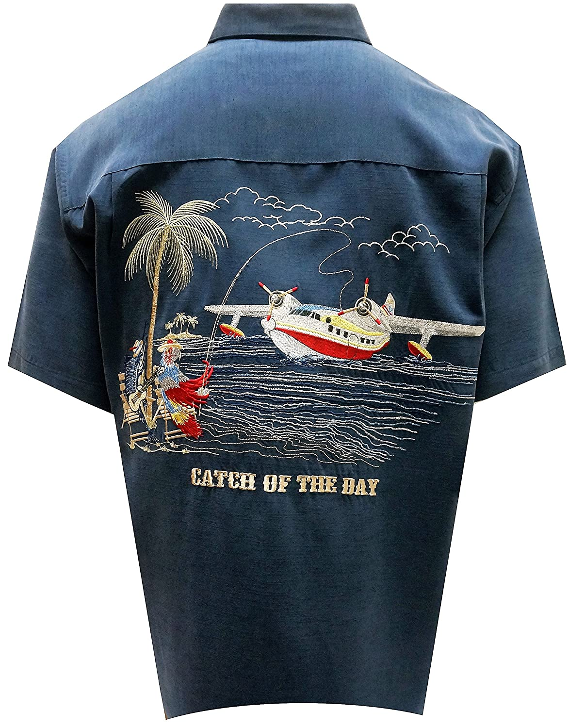 Bamboo Cay Men's Catch The Day, Embroidered Camp Shirt WB 9000