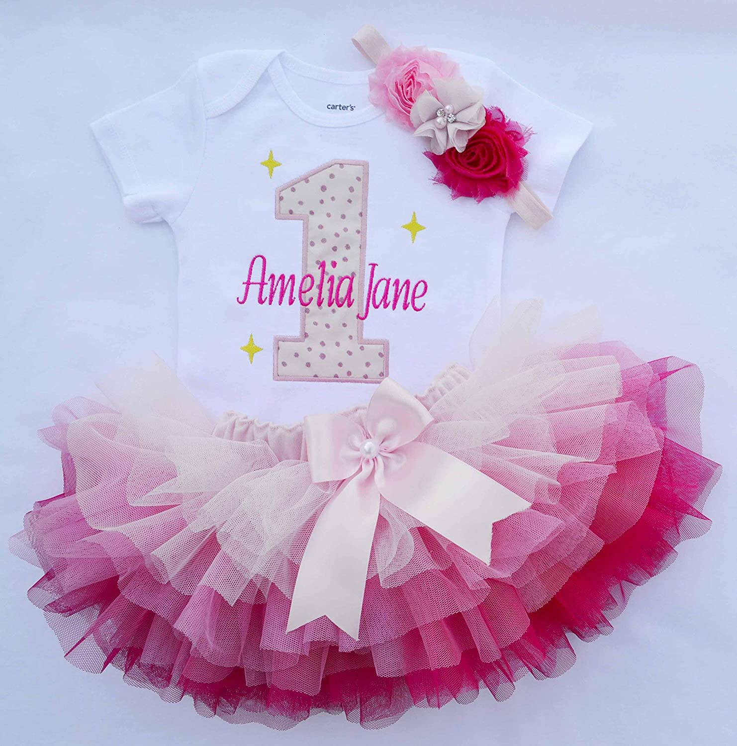 e5f31c4f0 Amazon.com: First birthday Girl outfit,Girls Cake Smash Outfit,Baby Girl  1st Birthday outfit,1st birthday tutu,twinkle twinkle star birthday girl  outfit: ...
