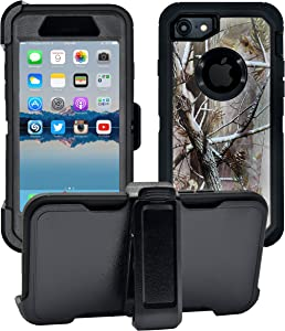 AlphaCell Cover Compatible with iPhone SE 2020 (2nd gen) / 8/7 (NOT Plus) | 2-in-1 Screen Protector & Holster Case Full Body Protection with Carrying Belt Clip | Protective Drop-Proof Shock-Proof