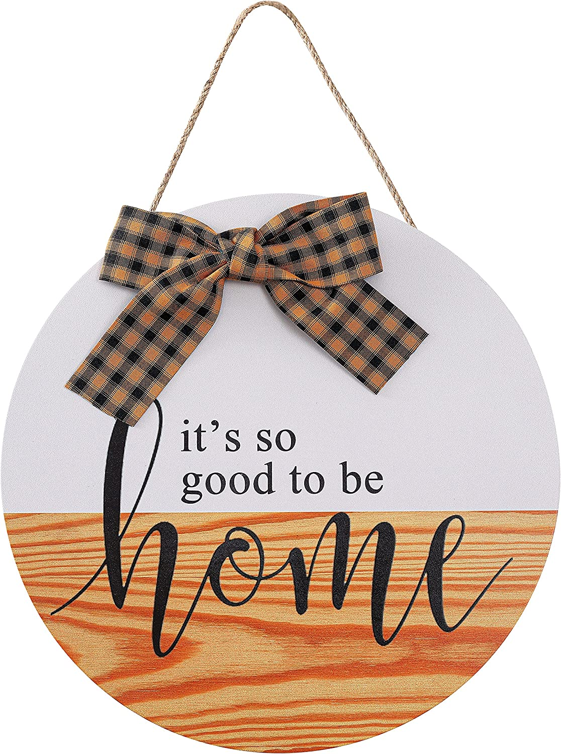 CYNOSA Welcome Sign Porch for Front Door Decor, It's So Good to Be Home Rustic Wooden Door Hangers Wreath Decoration Hanging Vertical Sign Farmhouse Outdoor Wall Decor (Yellow)
