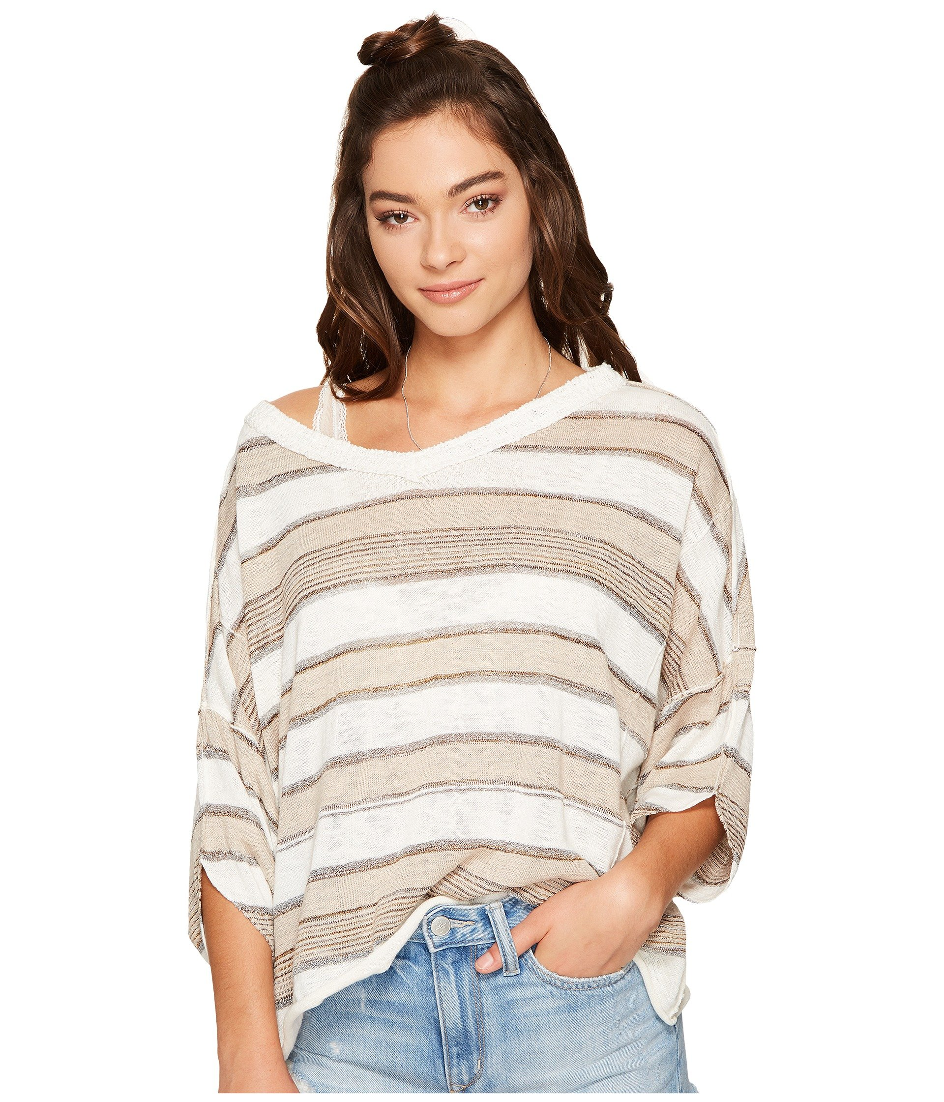 Free People Women's Love Me Too V-Neck Neutral Combo Small