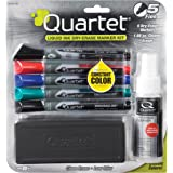 Quartet Dry Erase Markers Accessory Kit, Fine Tip, EnduraGlide, Assorted Colors, 5-PACK (5001M-5SK)