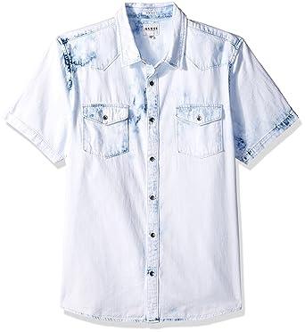 371e228829 GUESS Men s Western Washed Denim Shirt