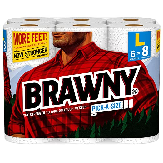 Brawny Paper Towels, Pick-a-Size, 6 Large Rolls, White, 6 = 8 Regular Rolls