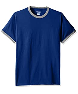 Champion Men's Classic Jersey Ringer Tee, Surf the Web/Oxford Gray Heather, 2XL