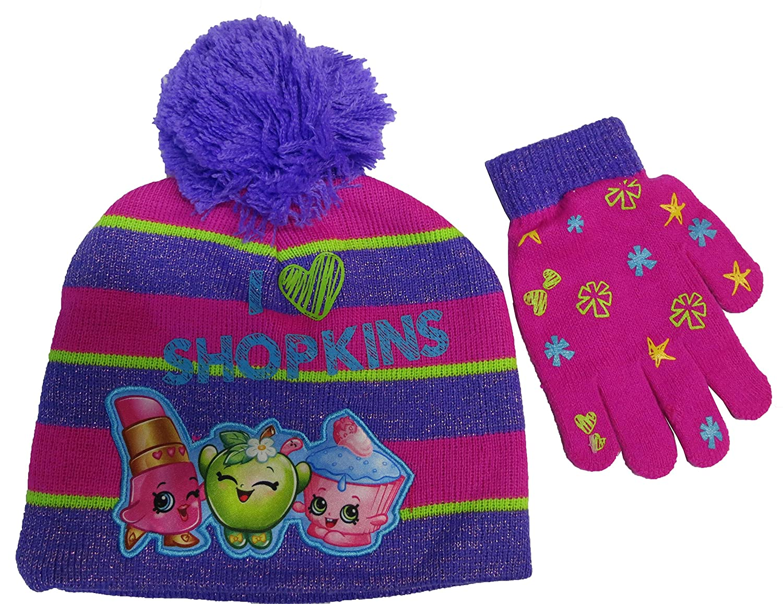 Shopkins Girls I Love Shopkins Striped Beanie Hat and Gloves Set - Size 4-14 [4013]