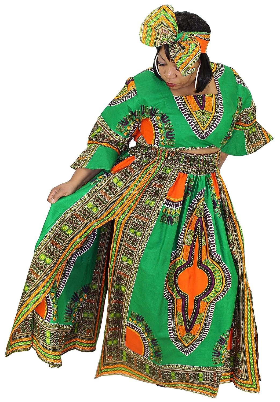 5d47649725088 African Planet Womens 3 PC set Crop Top High Slit Elastic Waist Skirt  headwrap