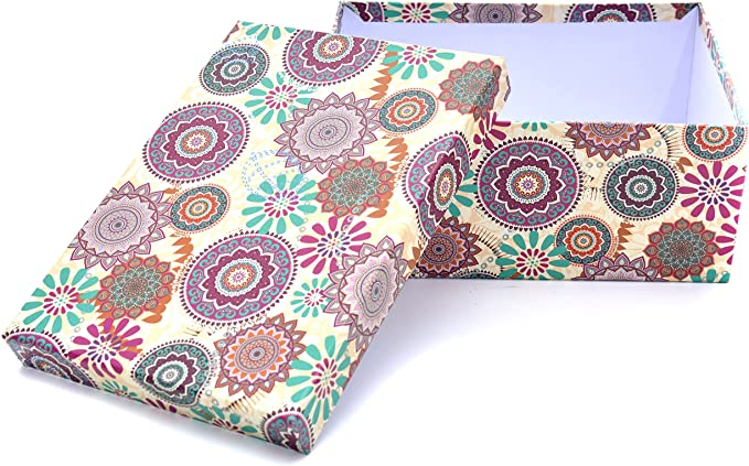 ARTE REGAL Caja, Diseño Mandala, Cartón Forrado, Multicolor, 10.5x17.5x24.5 cm: Amazon.es: Hogar