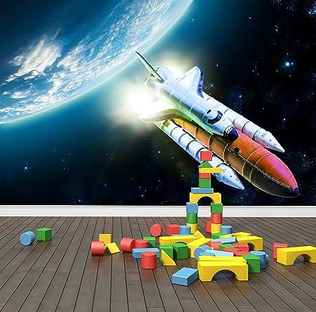 Space Rocket Wall Mural Photo Wallpaper Kids Bedroom Spaceship Shuttle Large 1500mm X 1150mm