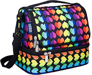 Wildkin Kids Two Compartment Insulated Lunch Bag for Boys and Girls, Perfect Size for Packing Hot or Cold Snacks for School and Travel, Lunch Bags Measures 9 x 8 x 6 Inches, BPA-free (Rainbow Hearts)