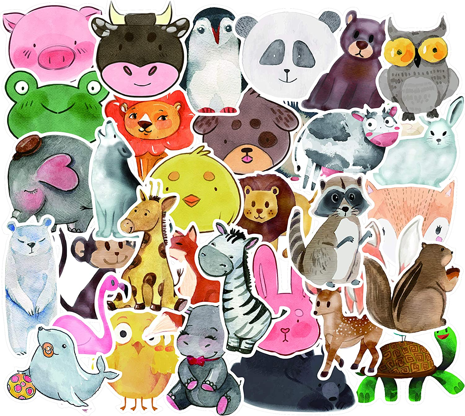 Honch Cute Cartoon Animal Stickers Lovely Stickers Pack 50 Pcs Suitcase Stickers Vinyl Decals for Laptop Bumper Helmet Ipad Car Luggage Water Bottle