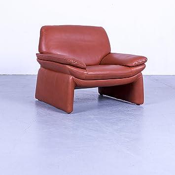 Laauser Designer Leder Sofa Orange Braun Zweisitzer Couch Echtleder