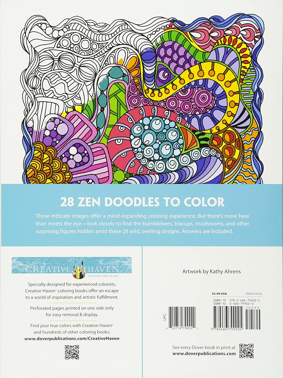 Ze zen inspiration coloring book - Amazon Com Creative Haven Dream Doodles A Coloring Book With A Hidden Picture Twist Adult Coloring 0800759799022 Kathleen G Ahrens Books