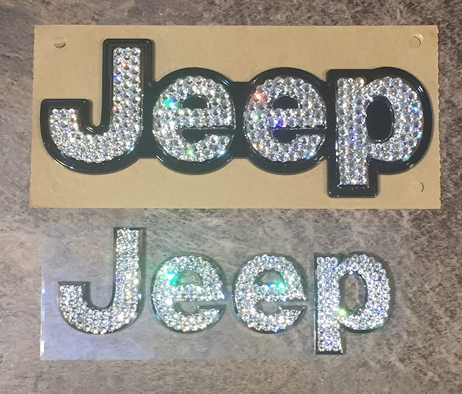 Jeep Chrome Front and/or Rear Emblems made with Clear Swarovski Crystals - Car Jewelry