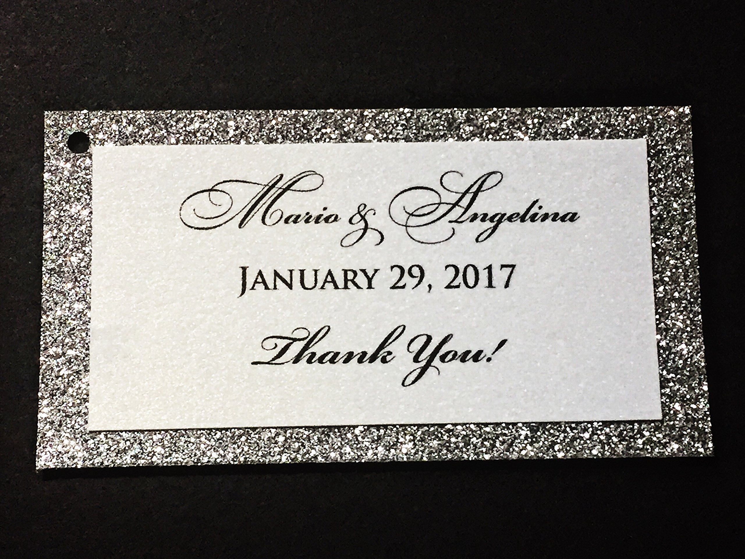 Wedding Thank You Favor Tags Silver Glitter Personalized Set of 25 - Bridal Baby Shower Birthday