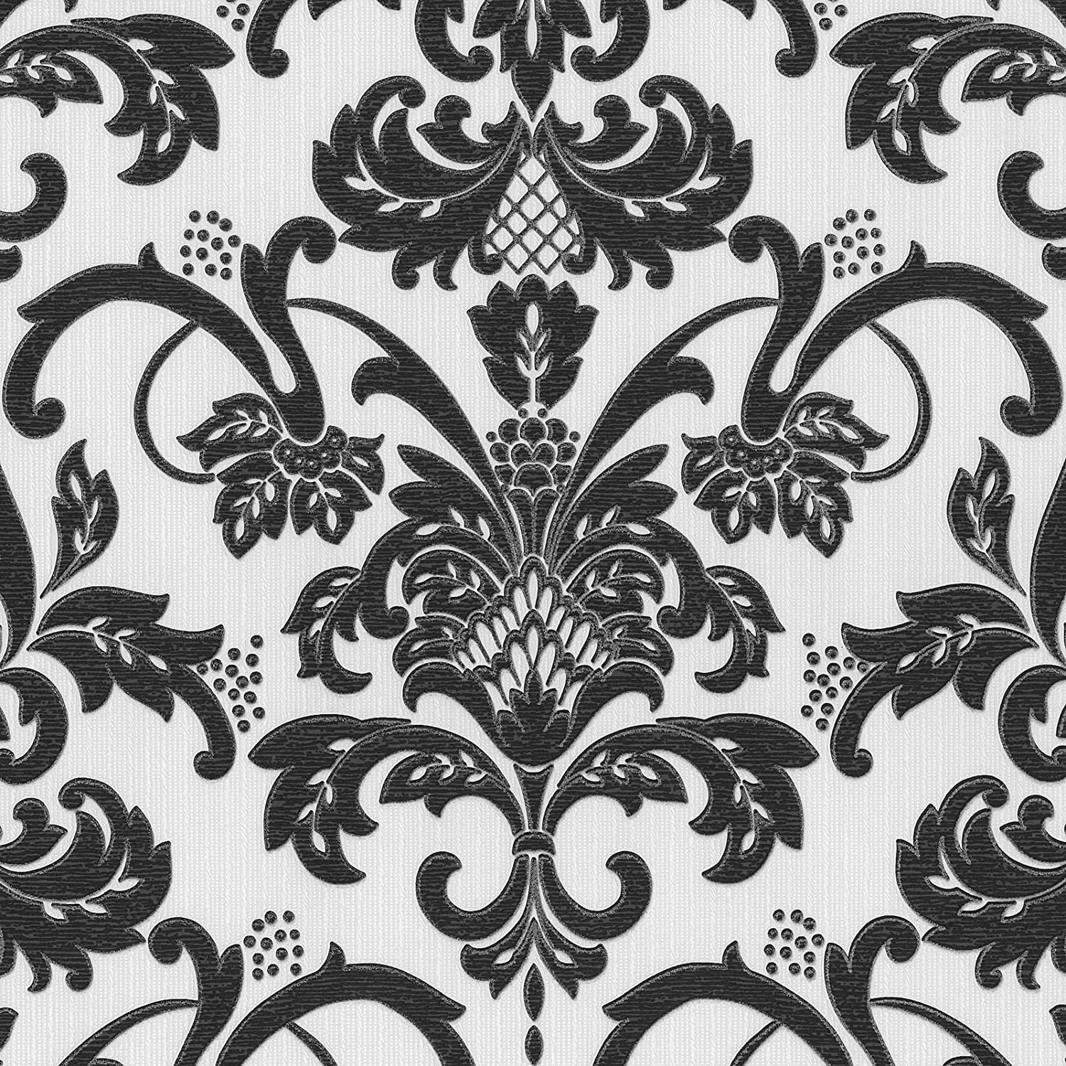 Claremont Black And White Damask Wallpaper Glitter Traditional Textured Washable 18132 20 Amazon Co Uk Diy Tools