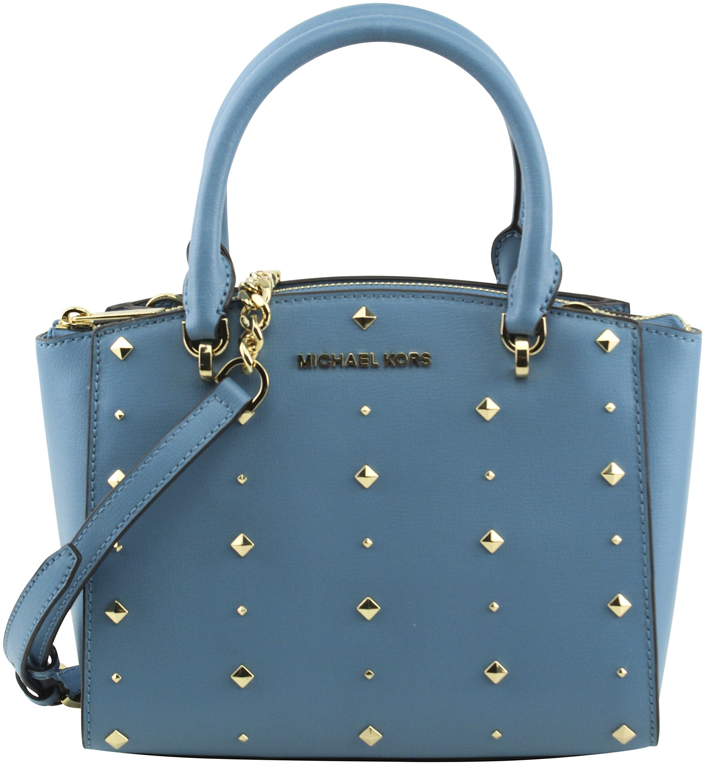 MICHAEL Michael Kors Women's Ellis Small Convertible Satchel Handbag Crossbody, Style 35H7GEOS5L, Sky Blue by Michael Kors