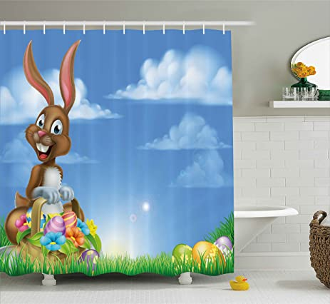 Easter Shower Curtain By Lunarable, Cartoon Rabbit Animal Under Sky With  Ornamental Eggs Garden Nature