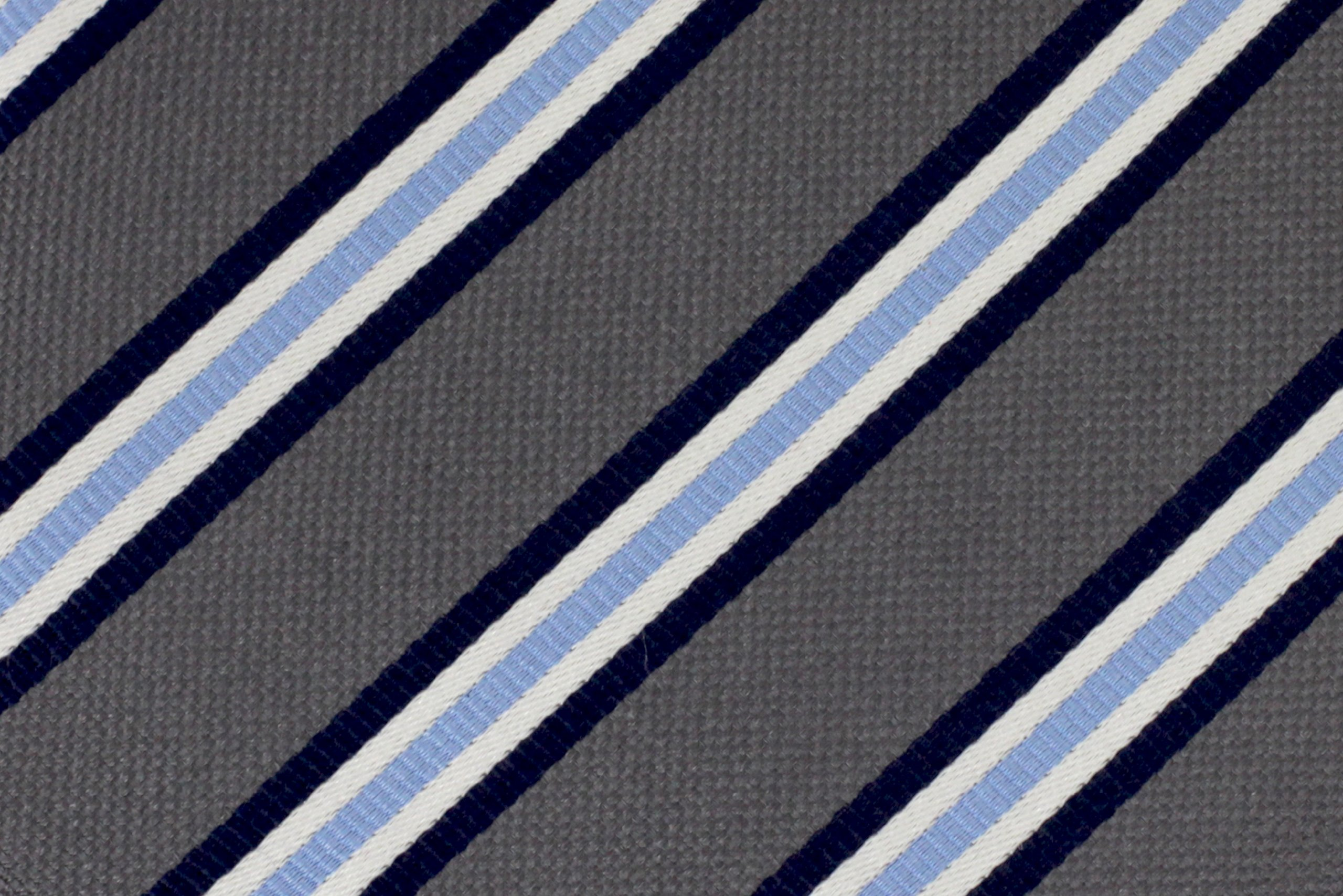 Extra Long Gray and Blue Striped Silk Tie by Longtiestore (Image #2)