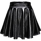 Urban CoCo Women High Waist Shiny Liquid Pleated Flared Mini Skater Skirt