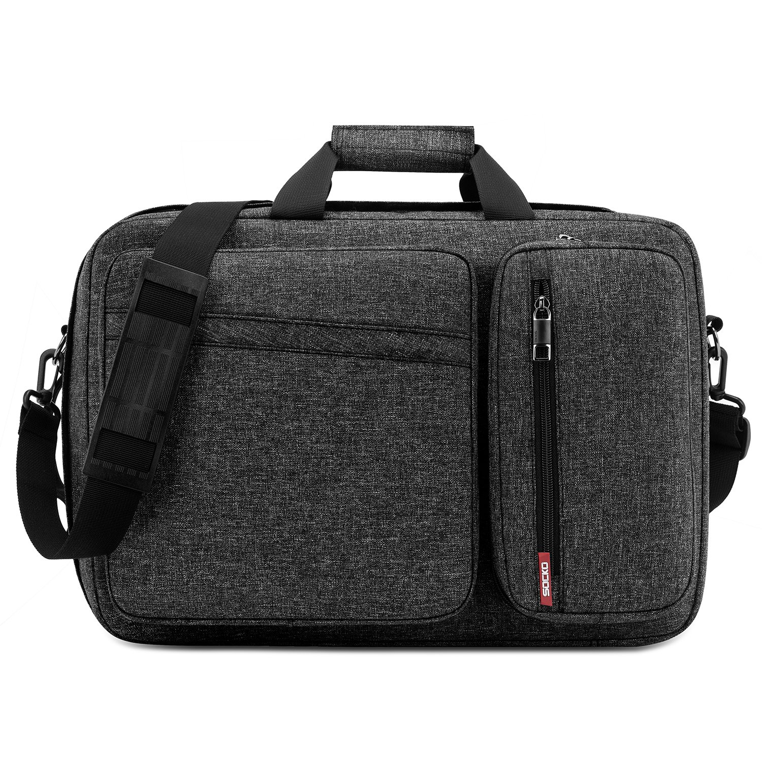 Convertible Laptop Bag Backpack SOCKO Multi Functional Mens Womens Water Resistant Messenger Bag Briefcase Business Travel College Laptop Shoulder Bag for Up to 17.3 Inch Laptop Computer Dark Grey