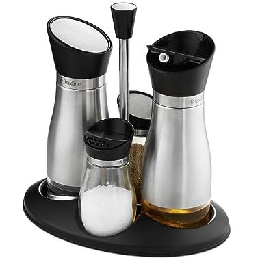 Oil and Vinegar Salt & Pepper Cruet Set (5 Piece) Durable Glass Stainless Steel Bottle Set with Caddy Twist Open/Close Tops, Capacity; Oil and Vinegar Dispenser 10 Oz. Salt and Pepper Shakers 3.5 oz