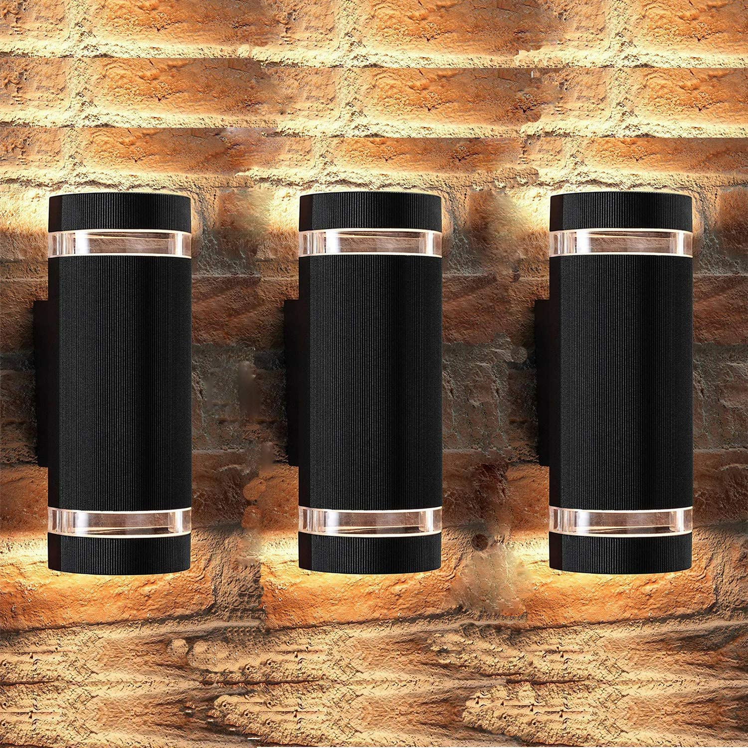Outdoor Wall Light,Bling Exterior Lighting - ETL Listed,Aluminum Waterproof Wall Mount Cylinder Design - Up Down Light Fixture for Porch, Backyard and Patio (Semi Cylinder 3 Pack)