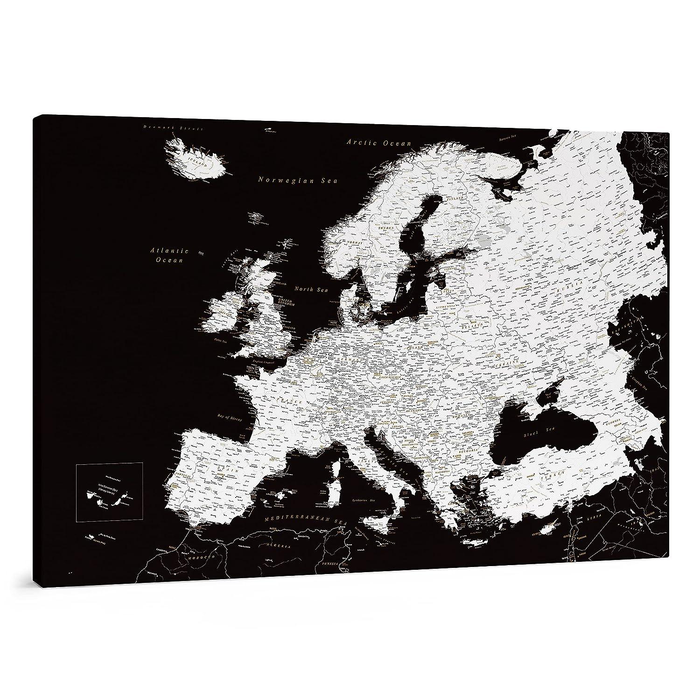 Cartina Geografica Europa In Italiano.Cartina Geografica Dell Europa Dettagliato Mappa Sughero Con Puntine Nero E Bianco Stampa Su Tela Diario Di Viaggio 3 Dimensioni 100x70 Cm 120x80 Cm 150x100 Cm Amazon It Handmade