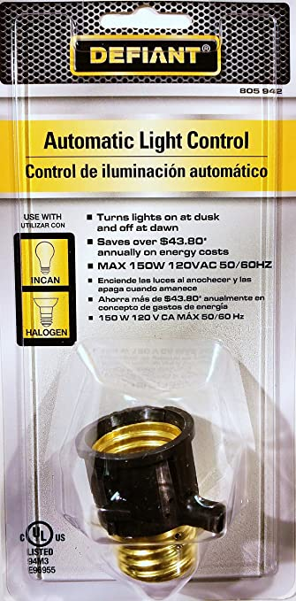 Large Base Dusk-to-Dawn Light Control, Black