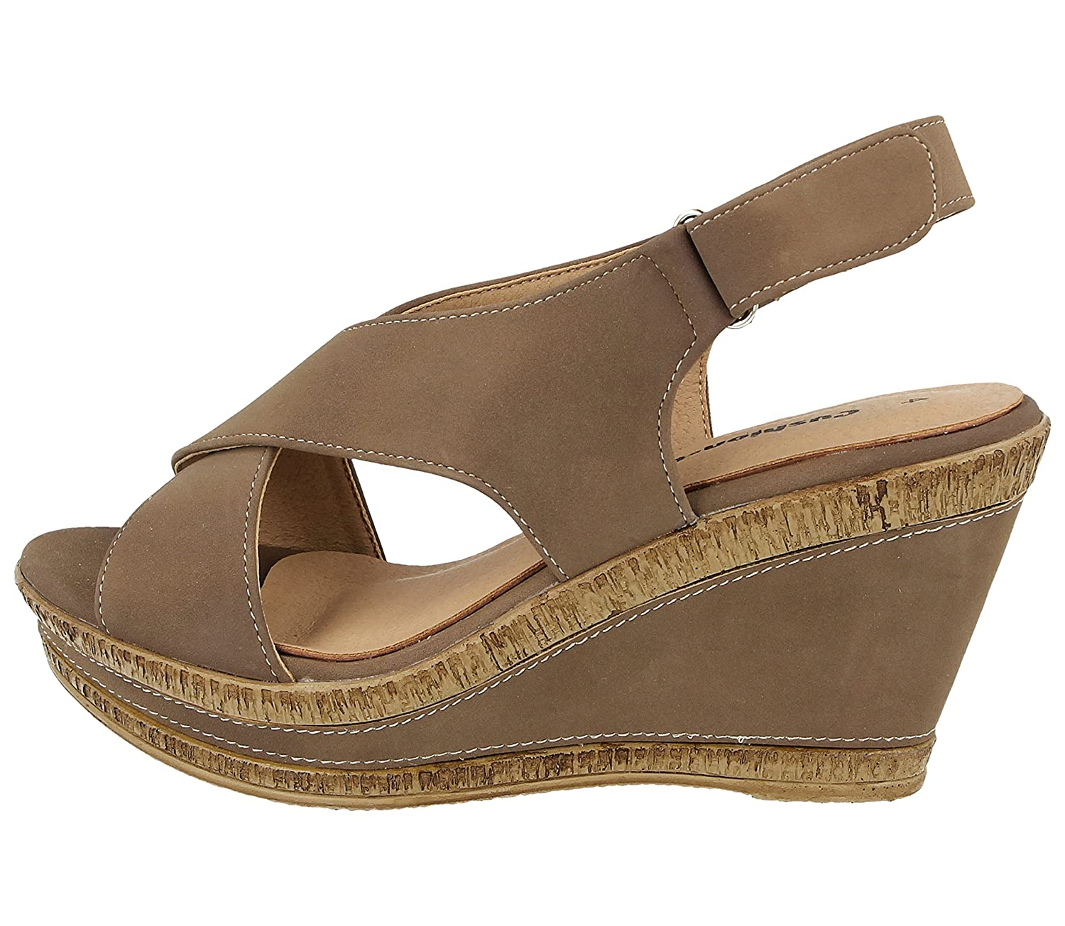 d836b9fb885cd Ladies Cushion Walk Wide E Fit Leather Lined Wedge Peep Toe Strappy Summer  Sandal Size 3-8