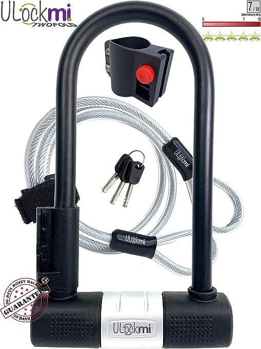Candado de Bicicleta U con Cable Candado de Antirrobo de Bici ...
