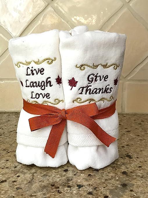 De acción de gracias otoño Holiday blanco punta toallas de mano de: bordado decorativo diseño de ...