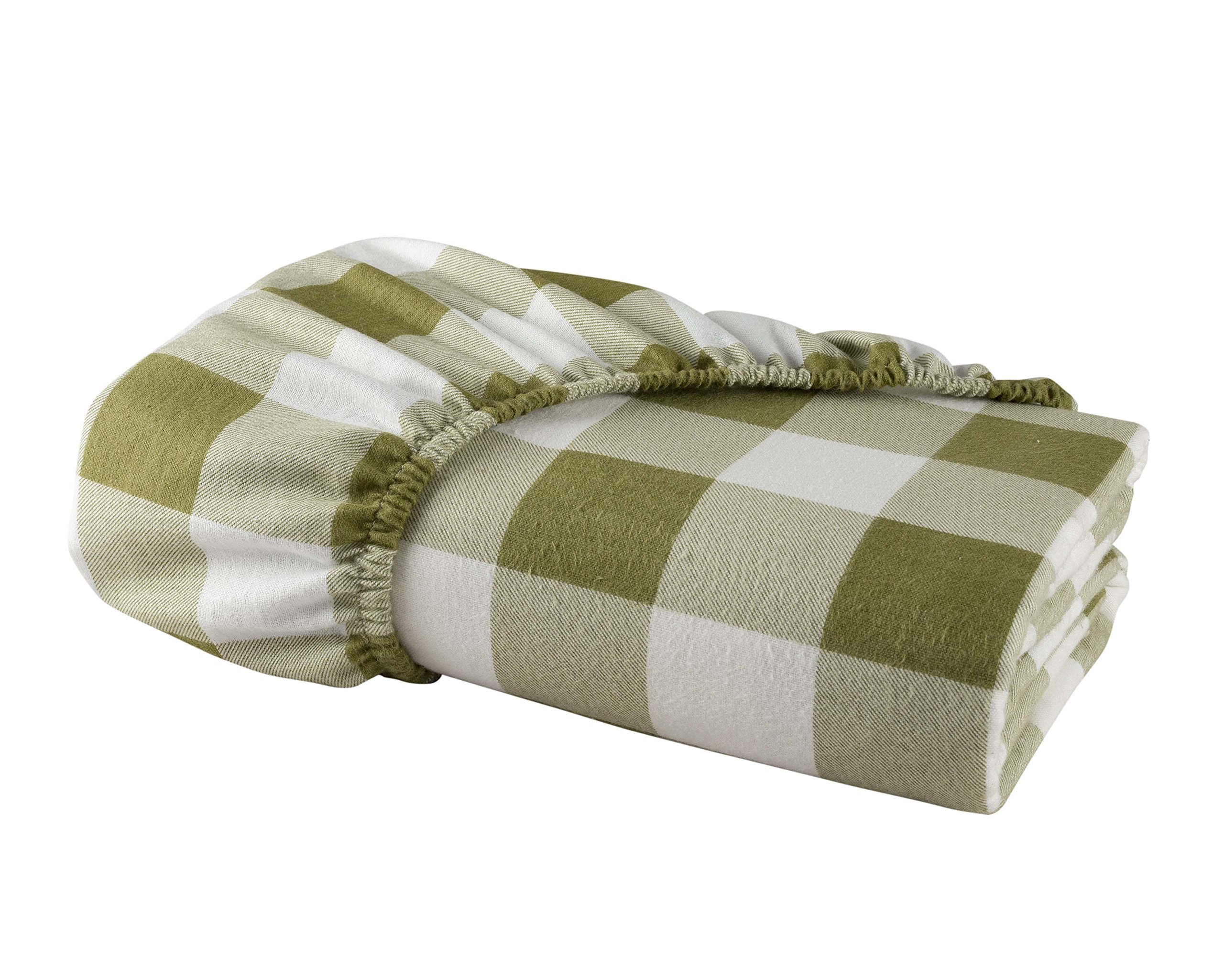 DELANNA Flannel Fitted Sheet 100% Brushed Cotton All Around Elastic 1 Fitted Sheet (60''x80'') (QUEEN, BUFFALO CHECK SAGE)