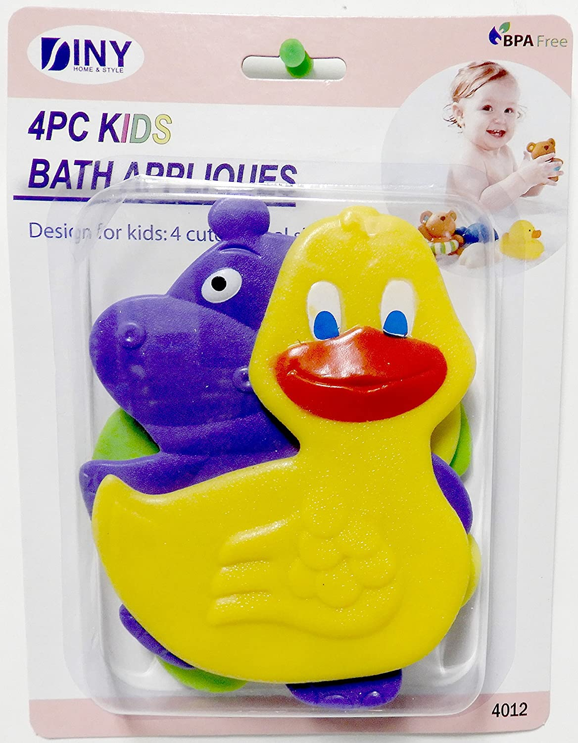 DINY Non-Slip Children's Bath Tub Applique with Suction Cup Bottom Combo 4 Pack Dependable Industries