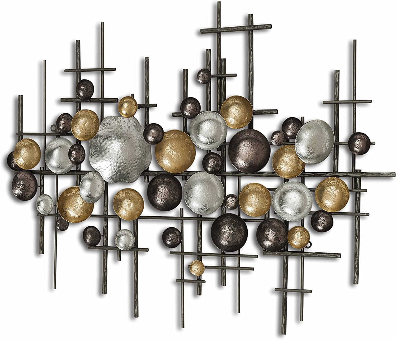 WHW Whole House Worlds Modernist Floating Circles, Abstract Metal Wall Art, Artisan Crafted, Rustic Gray, Pewter, Gold Gilt, Silver, Painted Iron, Over 3 Ft Long, Plaque