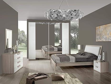 Camera Da Letto Bianco Laccato : Erika camera da letto completa bianco laccato olmo perla amazon
