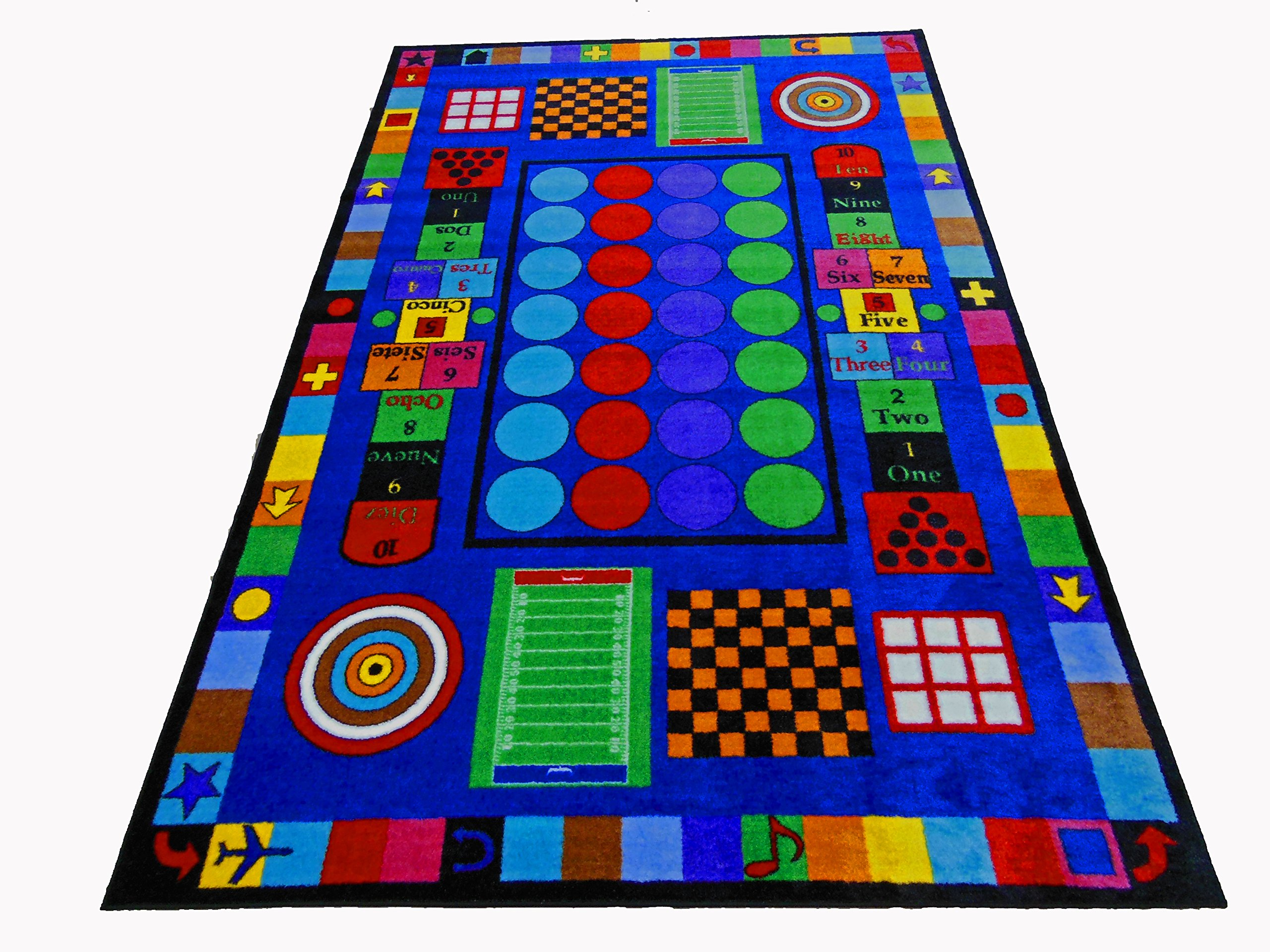 Kids World Carpets Game Time Tufted Nylon Children's Educational and Play Area Rug (5' x 8')