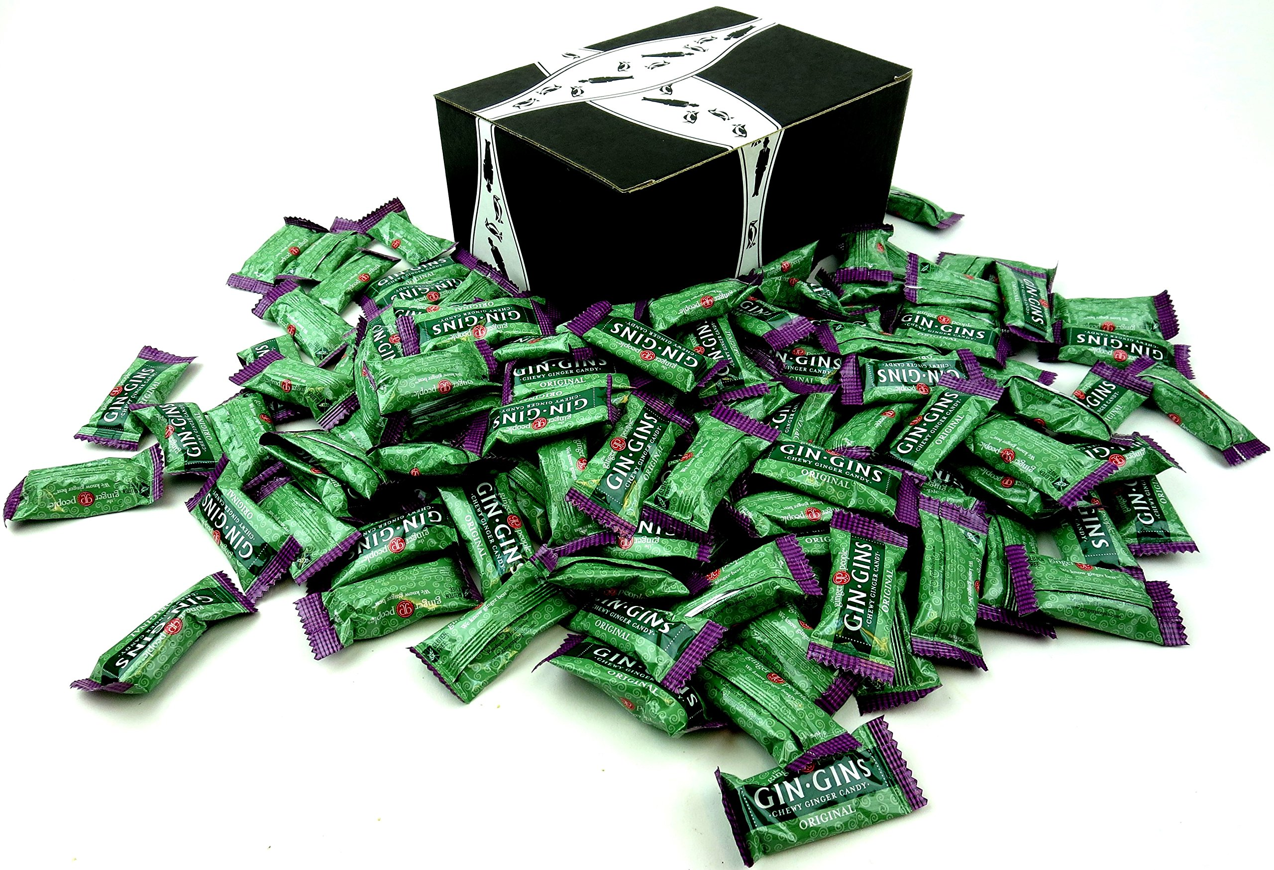 The Ginger People Gin Gins Original Chewy Ginger Candy, 2 lb Bag in a BlackTie Box by Black Tie Mercantile