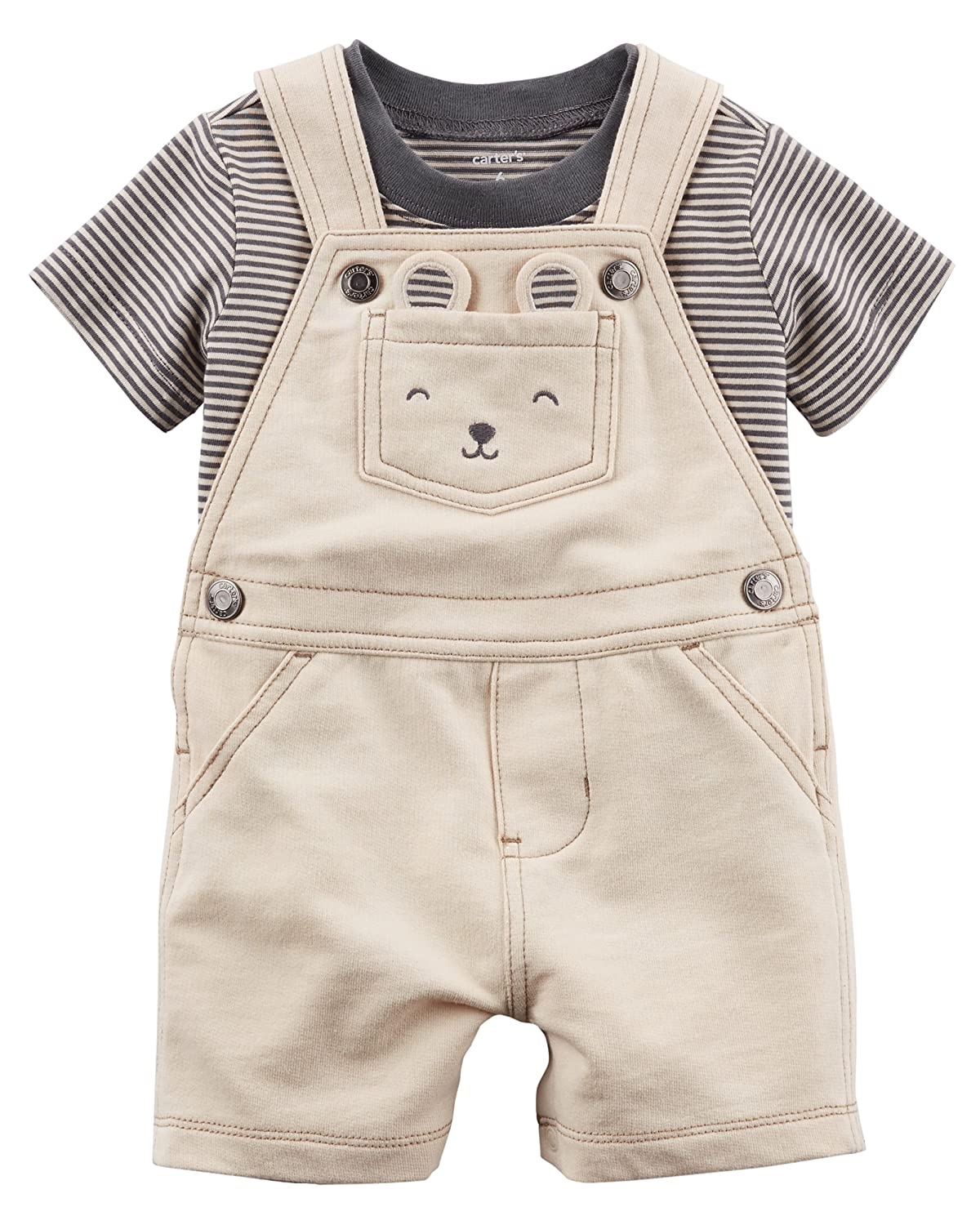 adf1a8f07450 Amazon.com  Carter s Beige Boys  2-Piece Tee   Shortalls Set