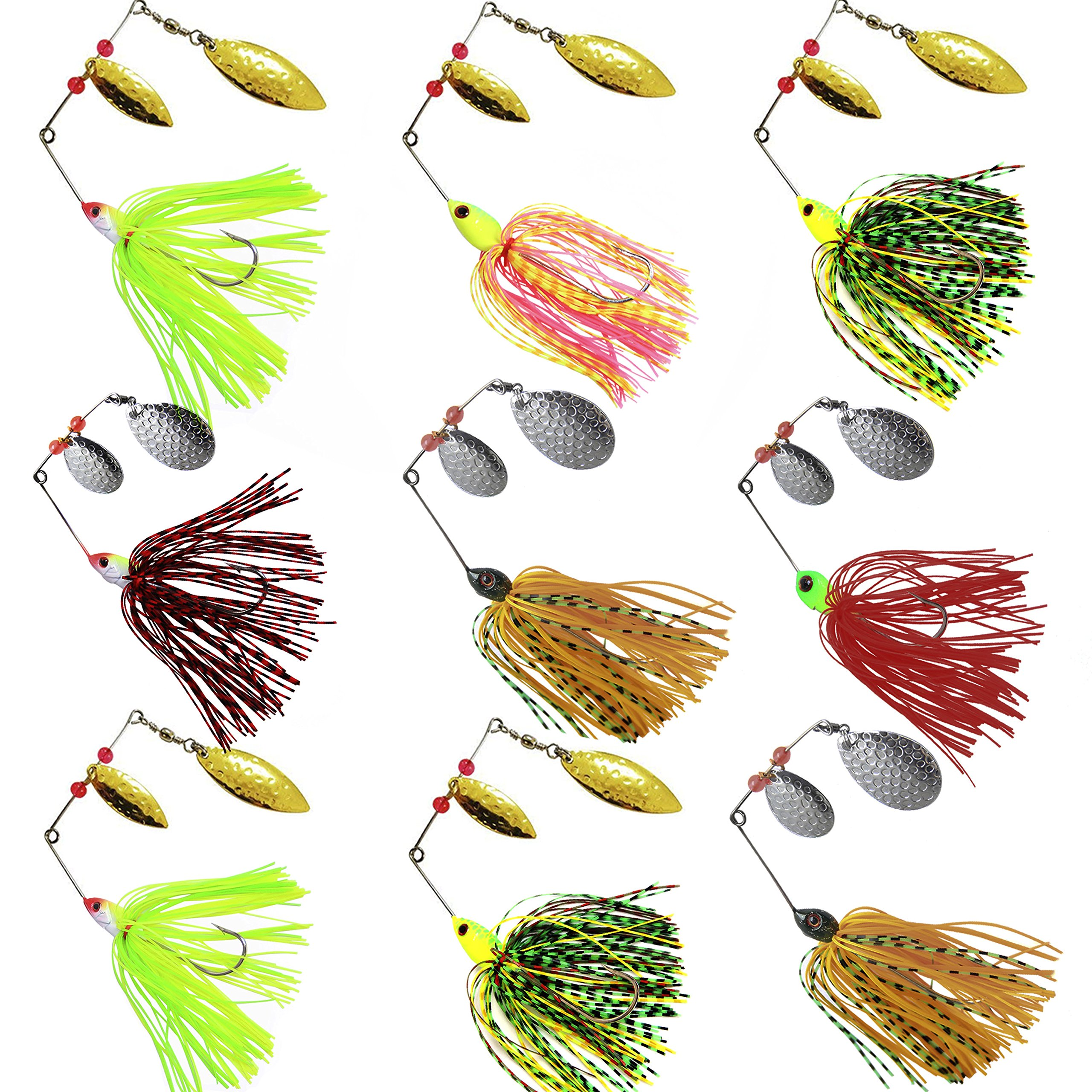 Fishing Spinner Baits Kit Hard Metal Spinnerbait Jig Lure Kit for Bass Pike (9pcs Spinner Baits) by Shaddock Fishing