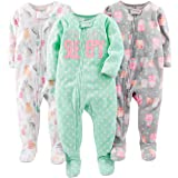 Simple Joys by Carters 3-Pack Loose Fit Flame Resistant Fleece Footed Pajamas Bimba 0-24 Pacco da 3