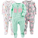 Simple Joys by Carter's Baby-Girls 3-Pack Loose Fit Flame Resistant Fleece Footed Pajamas