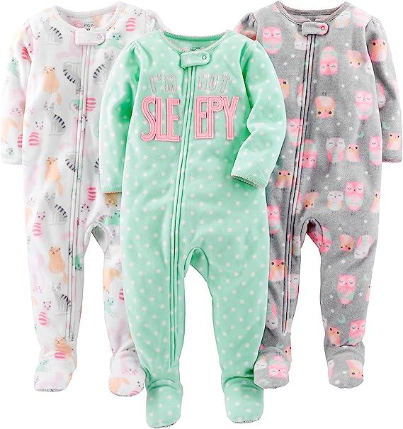 paquete de 3 Simple Joys by Carters pijama de poli/éster suelto para beb/és y ni/ñas peque/ñas
