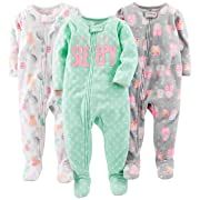 Simple Joys by Carter's Baby Girls' 3-Pack Loose Fit Flame Resistant Fleece Footed Pajamas, Owl/Cats/Dot, 12 Months