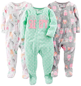 Simple Joys by Carter s Baby Girls  3-Pack Loose Fit Flame Resistant Fleece  Footed fdb3ba588