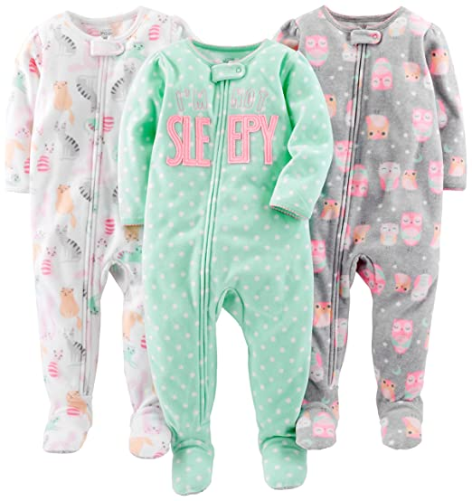 Simple Joys by Carter\u0027s Baby Girls\u0027 3-Pack Loose Fit Flame Resistant Fleece Footed Amazon.com: and Toddler