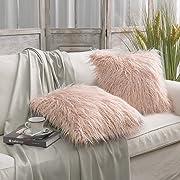 PHANTOSCOPE Set of 2 Orange Decorative New Luxury Series Merino Style Fur Throw Pillow Case Cushion Cover 18  x 18  45cm x 45cm