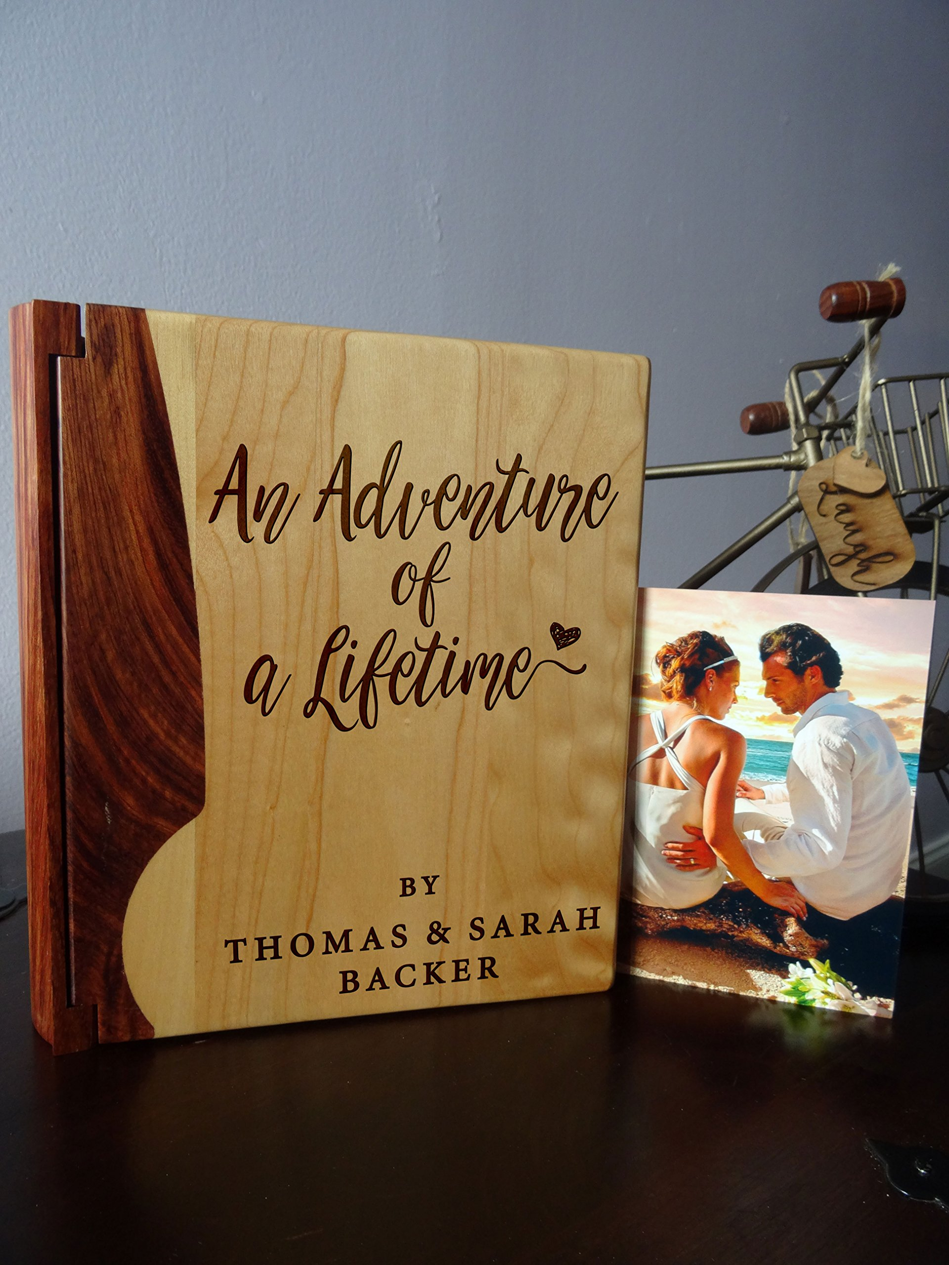 Personalized Wood Cover Photo Album, Custom Engraved Wedding Album, Style 109 (Maple & Walnut Cover) by LoveToCreateStamps (Image #1)