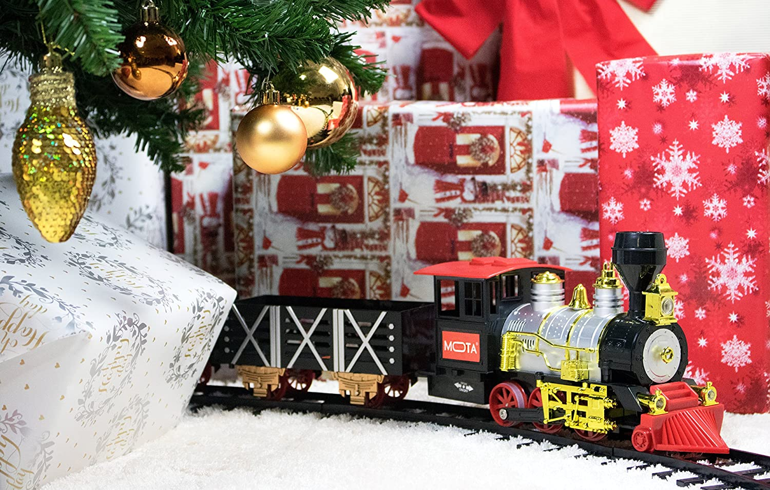 ... Under The Tree, This One Particular Is A Great Train Set. MOTA Classic Holiday  Train Set With Real Smoke Has An Authentic Lights And Sounds .