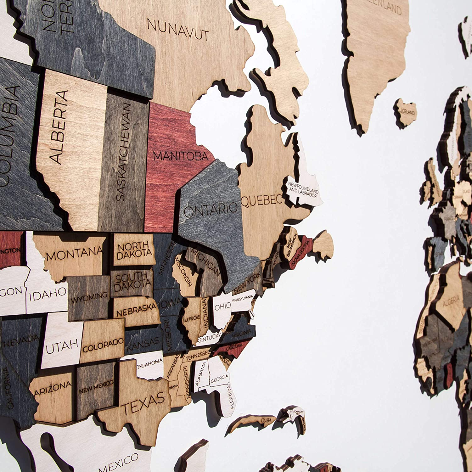 Wood World Map Wall decor 3D Map of the World Wall Art Large Wall Decal Wooden Decor Anniversary Gift